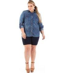 camisa jeans confidencial slim com lycra plus size feminina