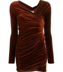 alexandre vauthier fitted draped dress - brown