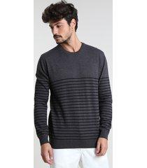 suéter masculino listrado gola careca cinza mescla escuro