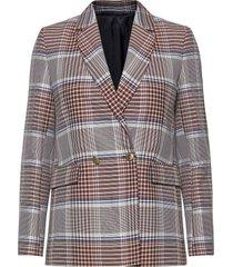d1. longline checked blazer blazers over d blazers beige gant