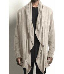 cárdigan de dobladillo irregular liso suave de algodón de otoño informal para hombre