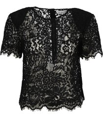 self portrait black cord lace sleeved top