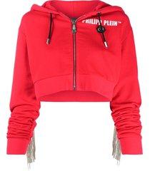 philipp plein crystal-fringe hoodie - red