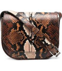 a.p.c. snakeskin-effect satchel bag - brown