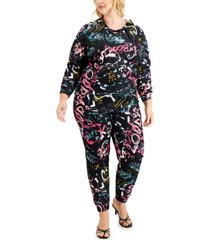 full circle trends trendy plus size 2-pc. lace-up hoodie & jogger pants set