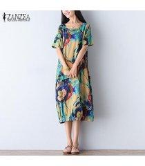 zanzea mujer de manga corta cuello redondo flojo floral vestido maxi largo caftán kaftan -azul