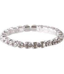 anel folheado prateado com strass cristal - feminino