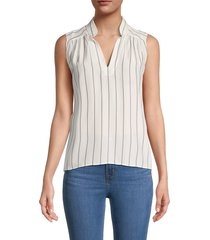 frame women's cali striped sleeveless top - white - size xs