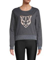 electric yoga women's graphic cotton-blend sweater - gunmetal - size l