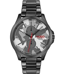 hugo men's #jump black ion-plated stainless steel bracelet watch 41mm