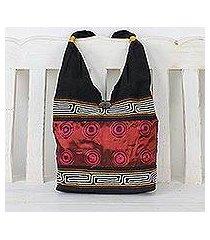cotton shoulder bag, 'crimson wine' (thailand)