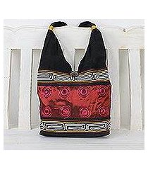 cotton shoulder bag, 'crimson wine' (thailand)