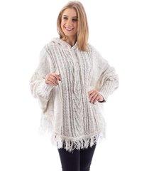 poncho de tricô sumaré 31175 branco mesclado