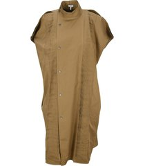 loewe pleated midi shirt dress in cotton