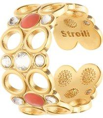 anello regolabile in ottone rosato con cristalli e smalto arancione per donna
