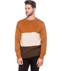 suéter passion tricot listra larga ferrugem
