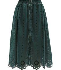 charlie broderie-anglaise linen midi skirt