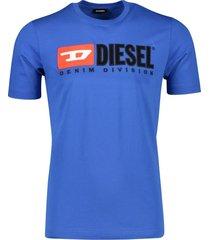 diesel t-shirt blauw ronde hals logo katoen