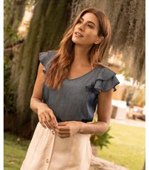 blusa cuello v, manga bolero-xs