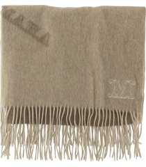 max mara wsklaus cashmere scarf with camel and wood logo