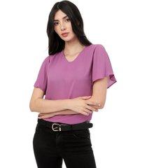 blusa lila manga corta en v lec lee