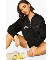 woman sweater met tekst, geplooide nek en rits, zwart