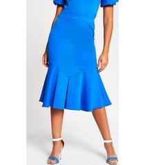 river island womens blue fitted peplum frill midi skirt