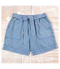 cotton shorts, 'summer relaxation in sky blue' (india)