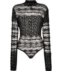 christian lacroix pre-owned 1990s lace bodysuit - black