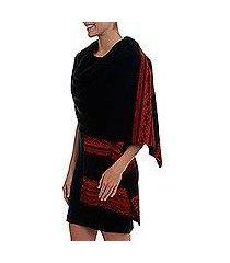 alpaca blend shawl, 'andean spirit in black' (peru)