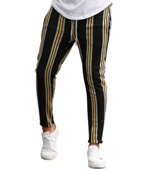 vertical striped drawstring pencil pants