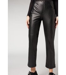 calzedonia leather effect thermal cigarette leggings woman black size xl