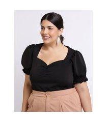 blusa feminina mindset plus size manga curta bufante decote coração preta