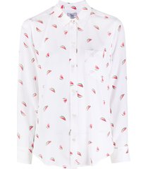 rails kate watermelon print silk shirt - white
