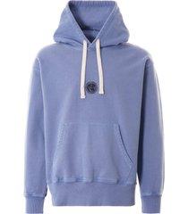 nigel cabourn logo hoodie washed blue nclghd-blu
