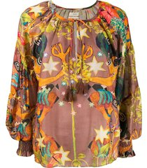 multicolored abstract print blouse