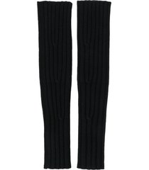 cashmere in love ribbed fingerless aspen gloves - black