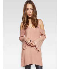 gillas l/s open shoulder bell dress - s chai