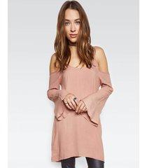 gillas l/s open shoulder bell dress - s chai