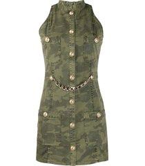 balmain sleeveless camouflage print denim dress - green