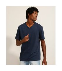 camiseta de algodão básica manga curta gola v azul marinho