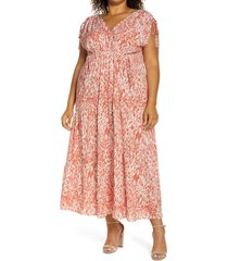 plus size women's maggy london abstract swirl print tie sleeve maxi dress, size 20w - red