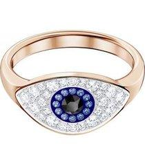 anillo swarovski symbolic evil eye, azul, baño en tono oro rosa