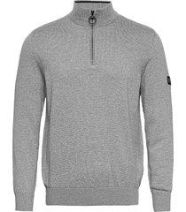 b.intl cotton half zip knitwear half zip jumpers grå barbour