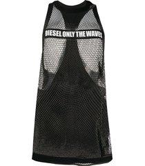 diesel slogan-print mesh vest - black