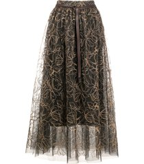 brunello cucinelli embroidered tulle skirt - grey
