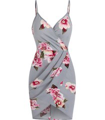 flower print spaghetti strap tulip dress