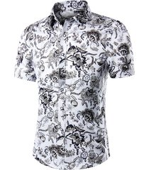 camisa de fiesta de verano con estampado floral casual para hombres