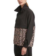 dkny sport leopard-print colorblocked jacket