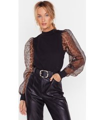 womens be wild there organza sleeve leopard top - black